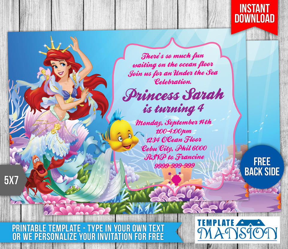 Little Mermaid Birthday Invitation By Templatemansion On DeviantArt - Little mermaid birthday invitation template