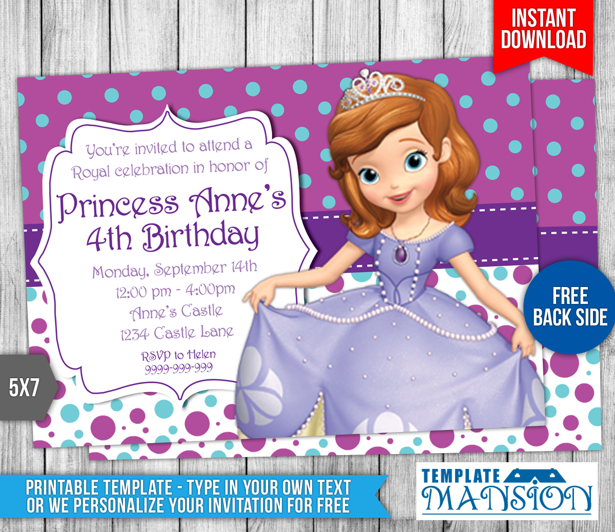 Princess Sofia Template Pertaminico - Sofia the first party invitation template