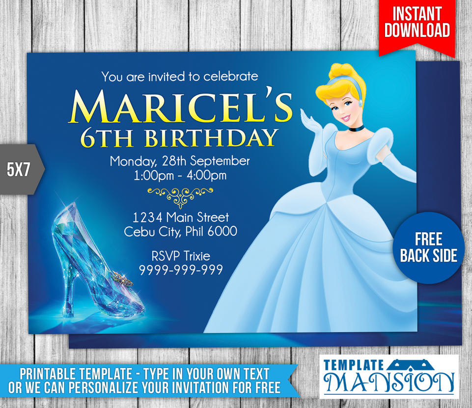 Cinderella birthday invitation 2 by templatemansion on for Cinderella invitation to the ball template