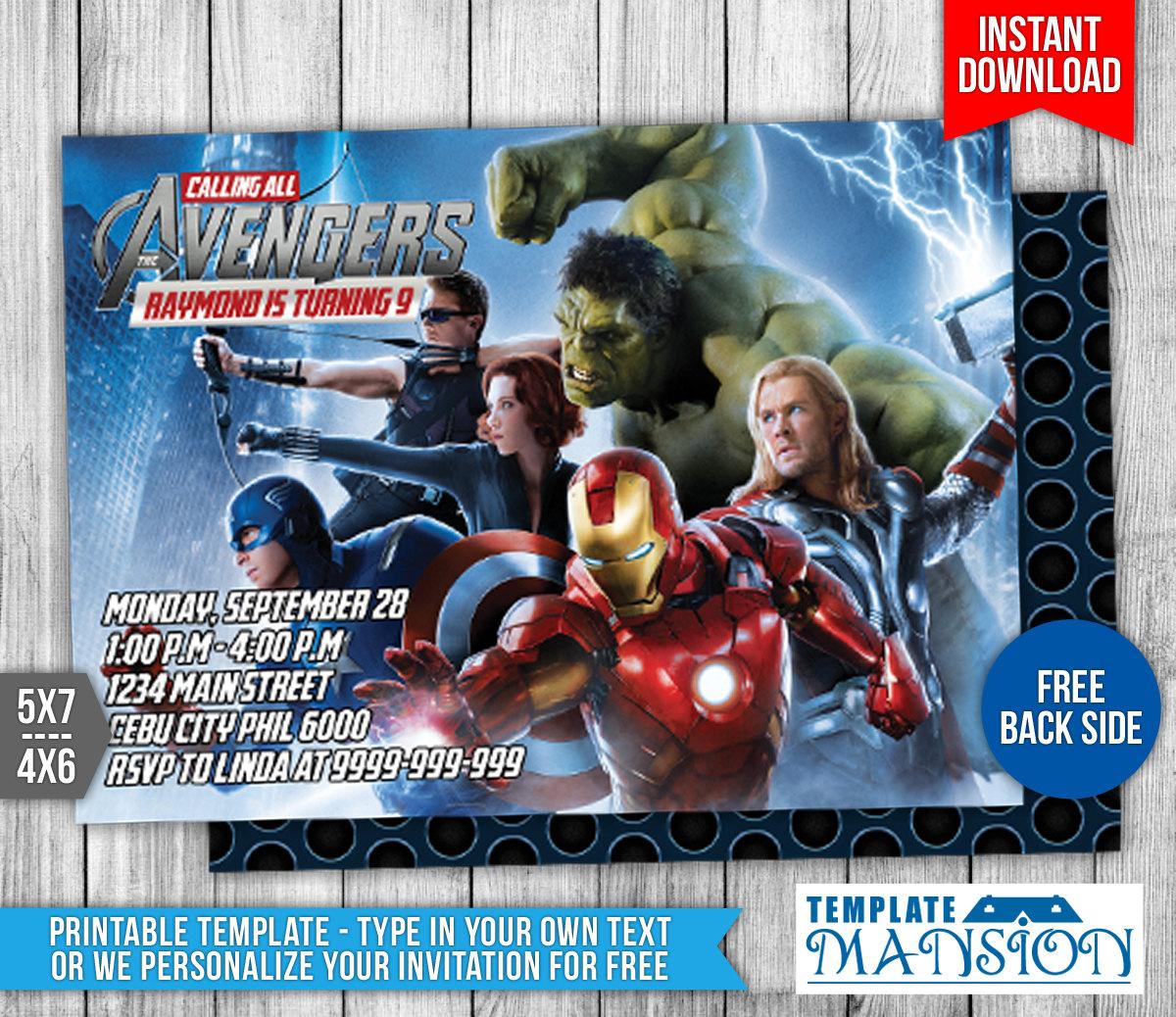 Avengers Birthday Invitation Templates Free Ukrandiffusion