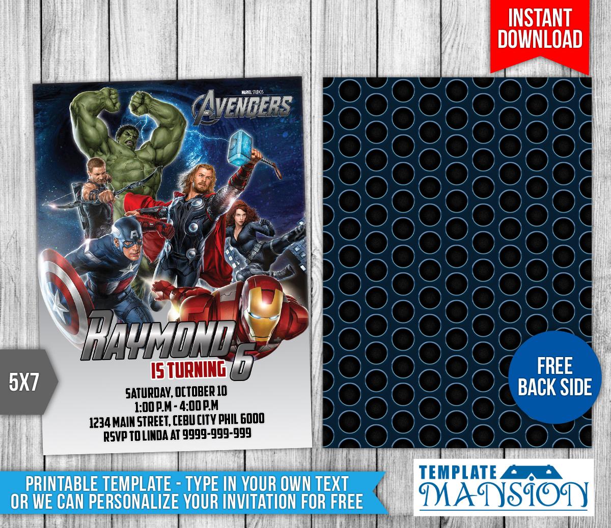 avengers birthday invitation  2 by templatemansion on