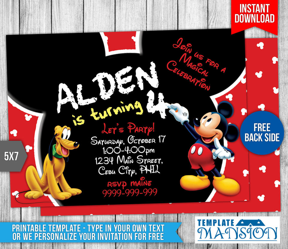 mickey mouse birthday invitation template 7 by templatemansion on mickey mouse birthday invitation template 7 by templatemansion