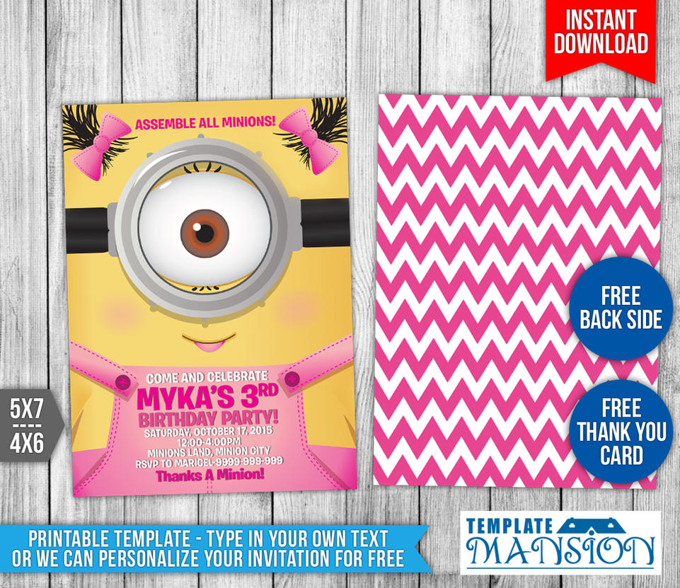 Girl minions birthday invitation template 8 by templatemansion on girl minions birthday invitation template 8 by templatemansion stopboris Choice Image
