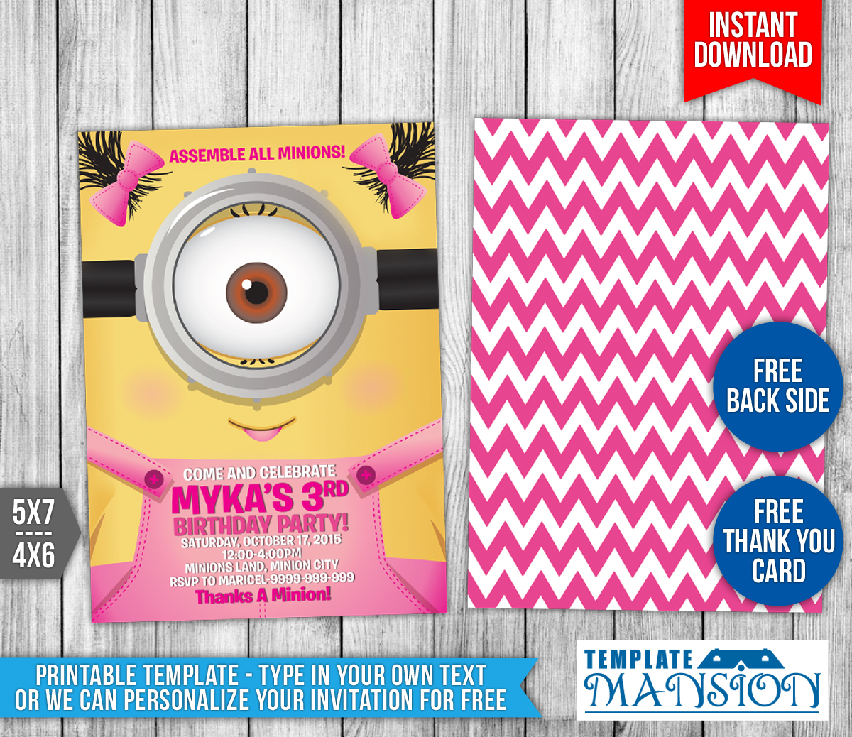 Girl minions birthday invitation template 8 by templatemansion on girl minions birthday invitation template 8 by templatemansion stopboris Images