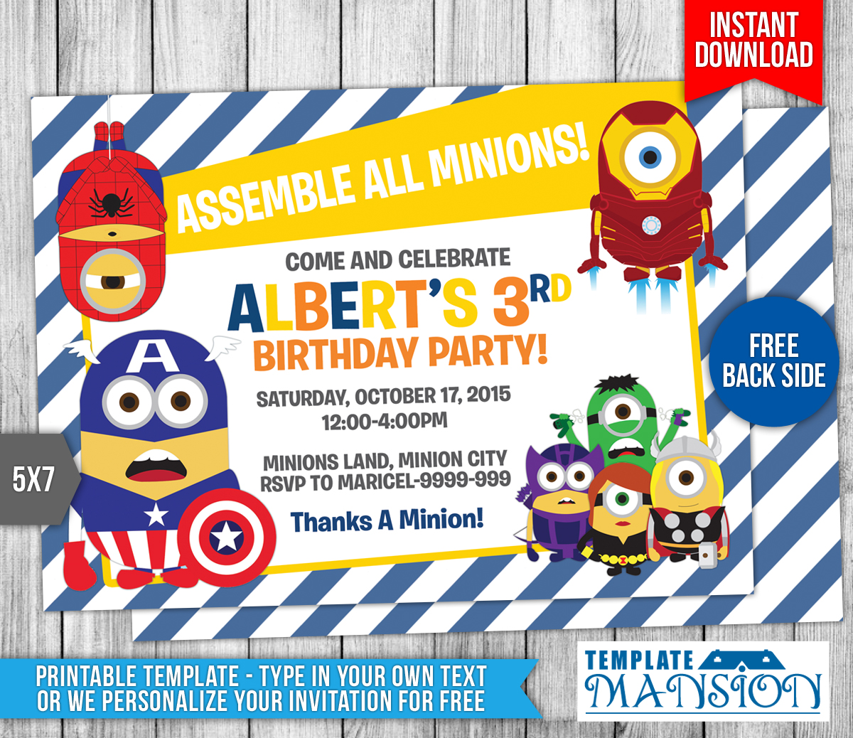 minions avengers birthday invitation template 9 by templatemansion