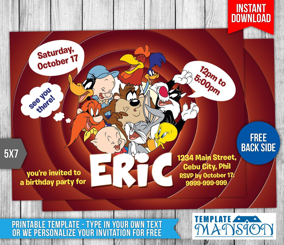 Looney Tunes Birthday Invitation Template 1 By Templatemansion On