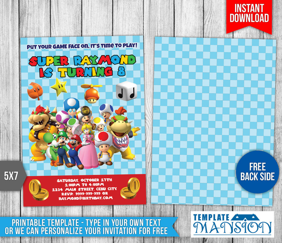 Super Mario Birthday Invitation Template #1 by templatemansion on ...