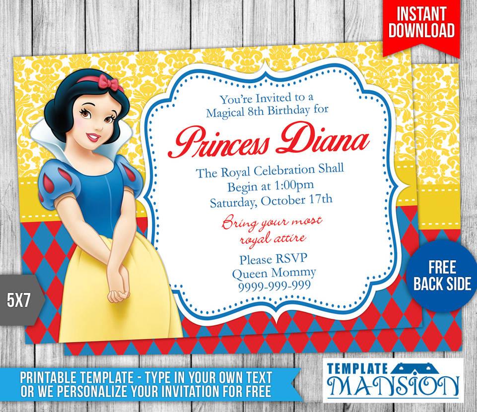 snow white birthday invitation template  3 by templatemansion on deviantart
