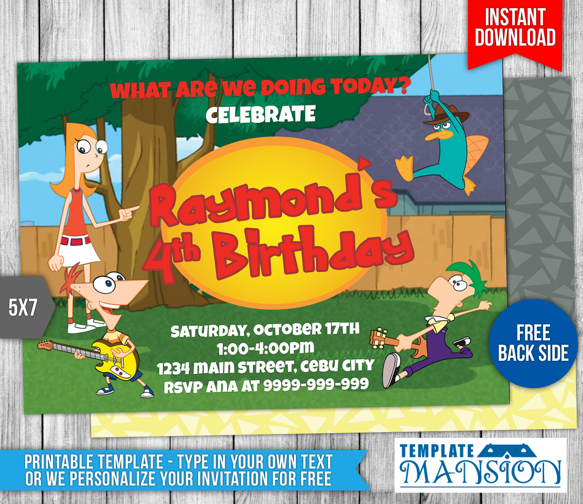 Phineas and Ferb Birthday Invitation Template 1 by – Phineas and Ferb Birthday Card