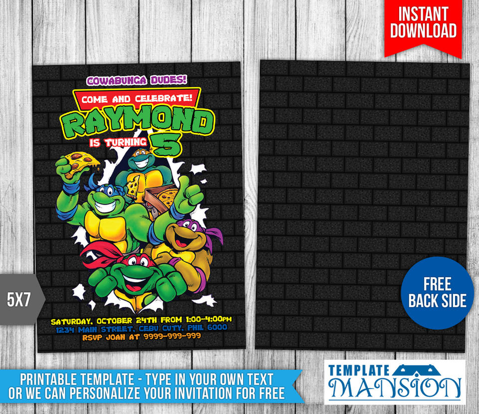 Teenage Mutant Ninja Turtles Birthday Invitation T By Templatemansion ...