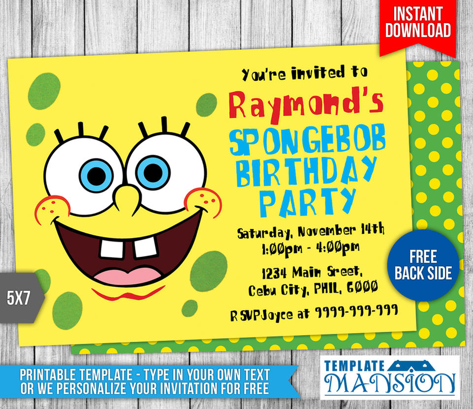 Spongebob squarepants birthday invitation template by spongebob squarepants birthday invitation template by templatemansion filmwisefo