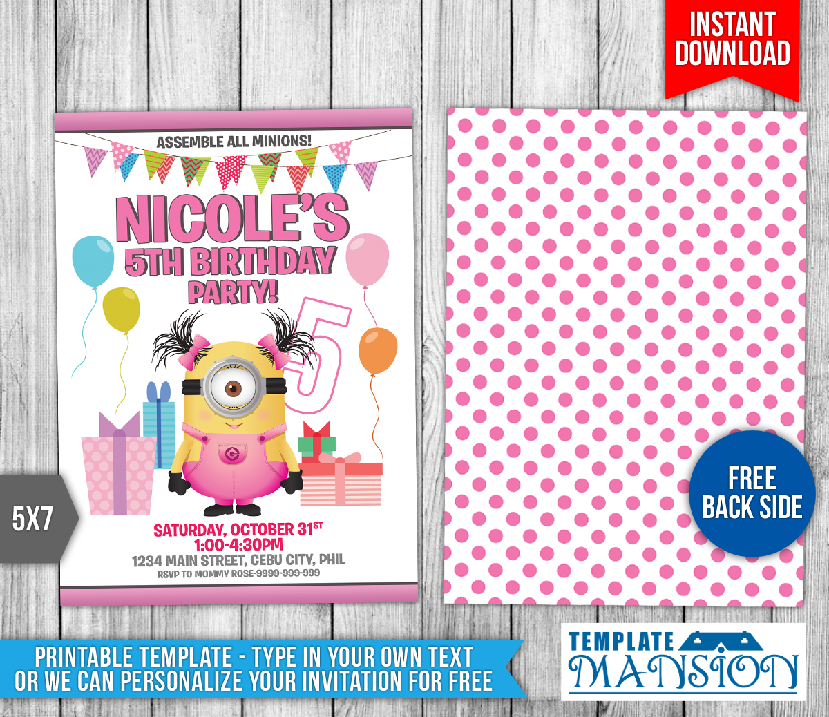 Girl Minion Birthday Invitation Template By Templatemansion On - Birthday invitation template minions