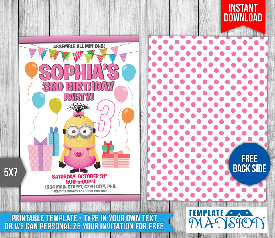 Girl Minion Birthday Invitation Template By Templatemansion On - 5x7 birthday invitation template