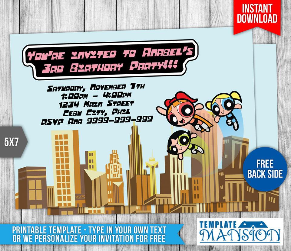 Powerpuff Girls Birthday Invitation Template #1 by templatemansion ...