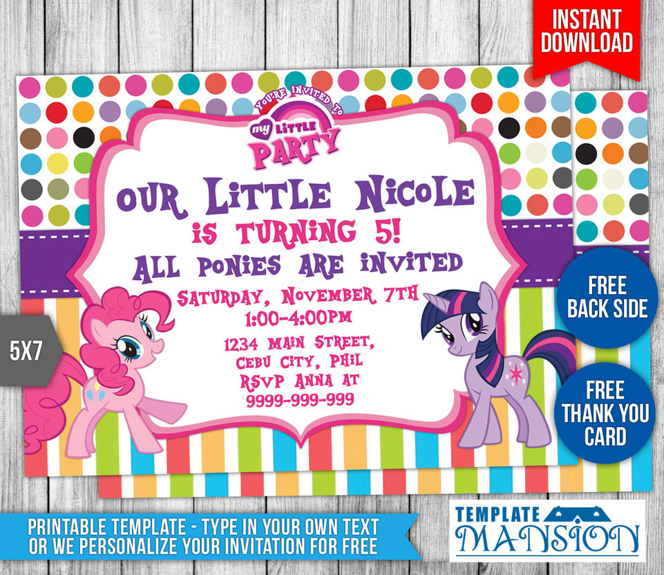 My Little Pony Birthday Invitation Template 2 By