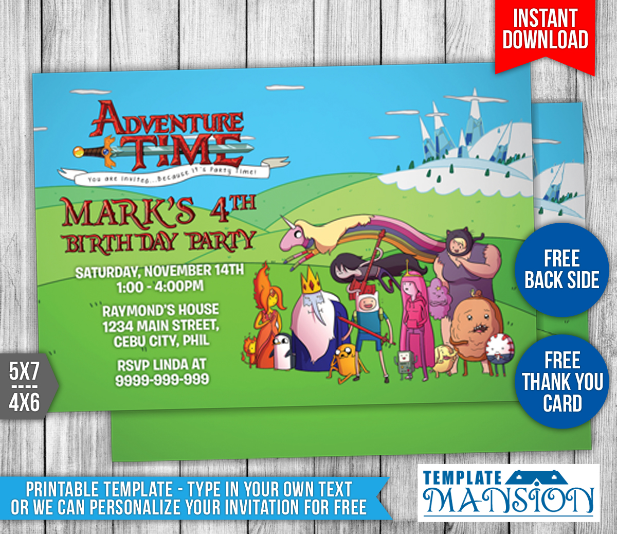 Adventure Time Birthday Invitation Template 1 By