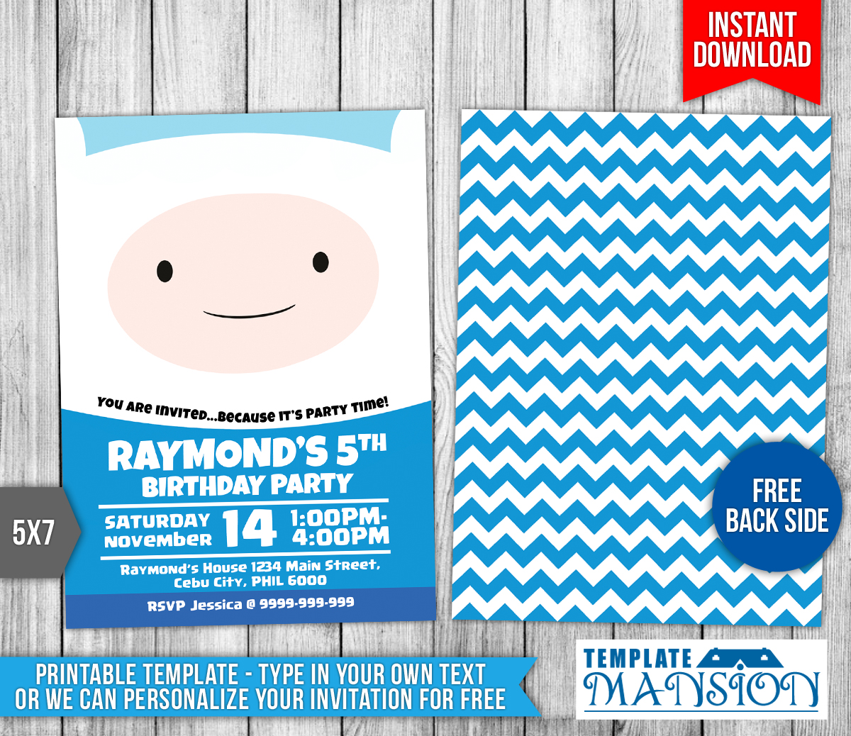 Adventure Time Birthday Invitation Template By Templatemansion On - 5x7 birthday invitation template