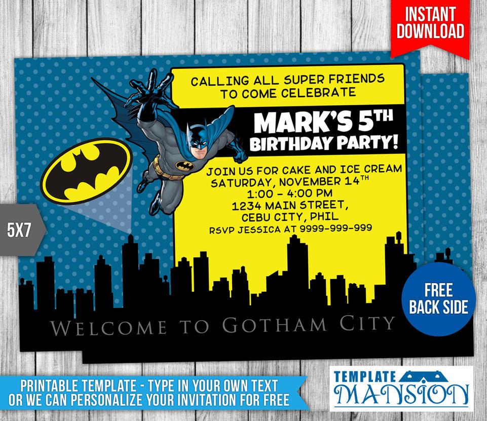 Batman Birthday Invitation w/ FREE Thank You Card by ...