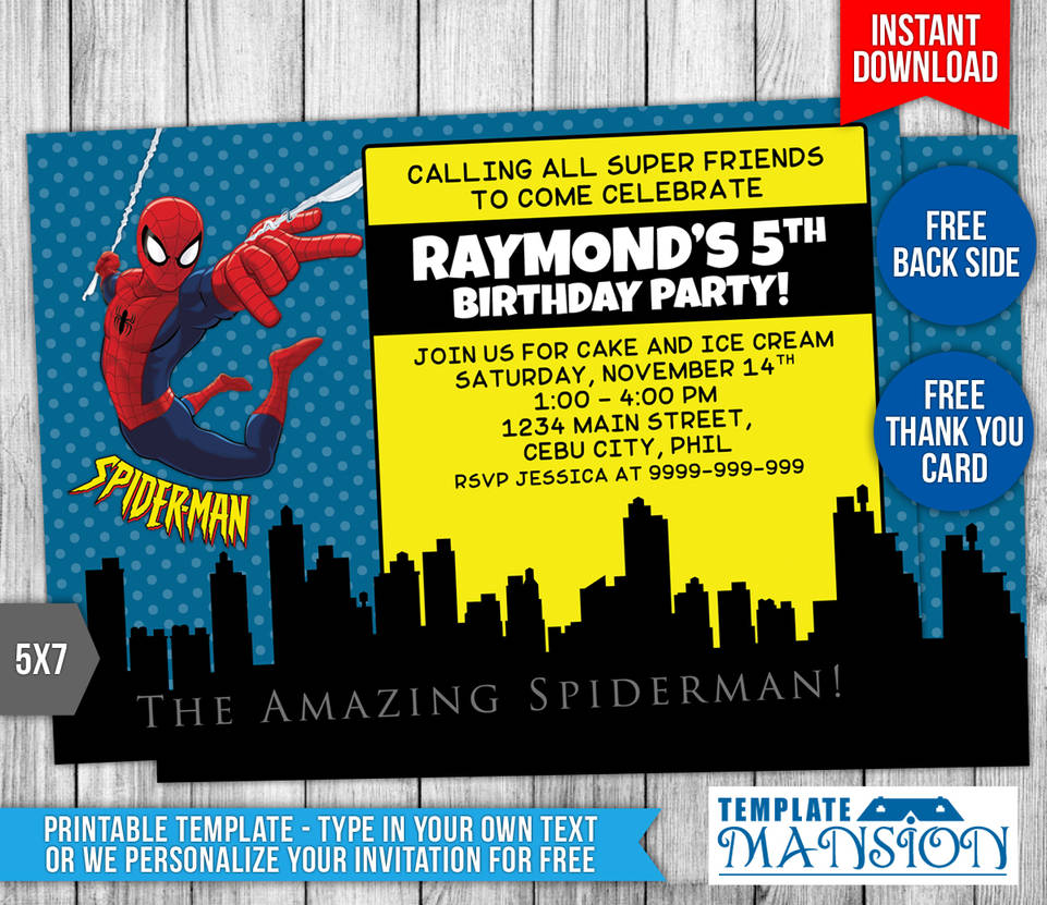 Spiderman Birthday Invitations Templates Free Spiderman