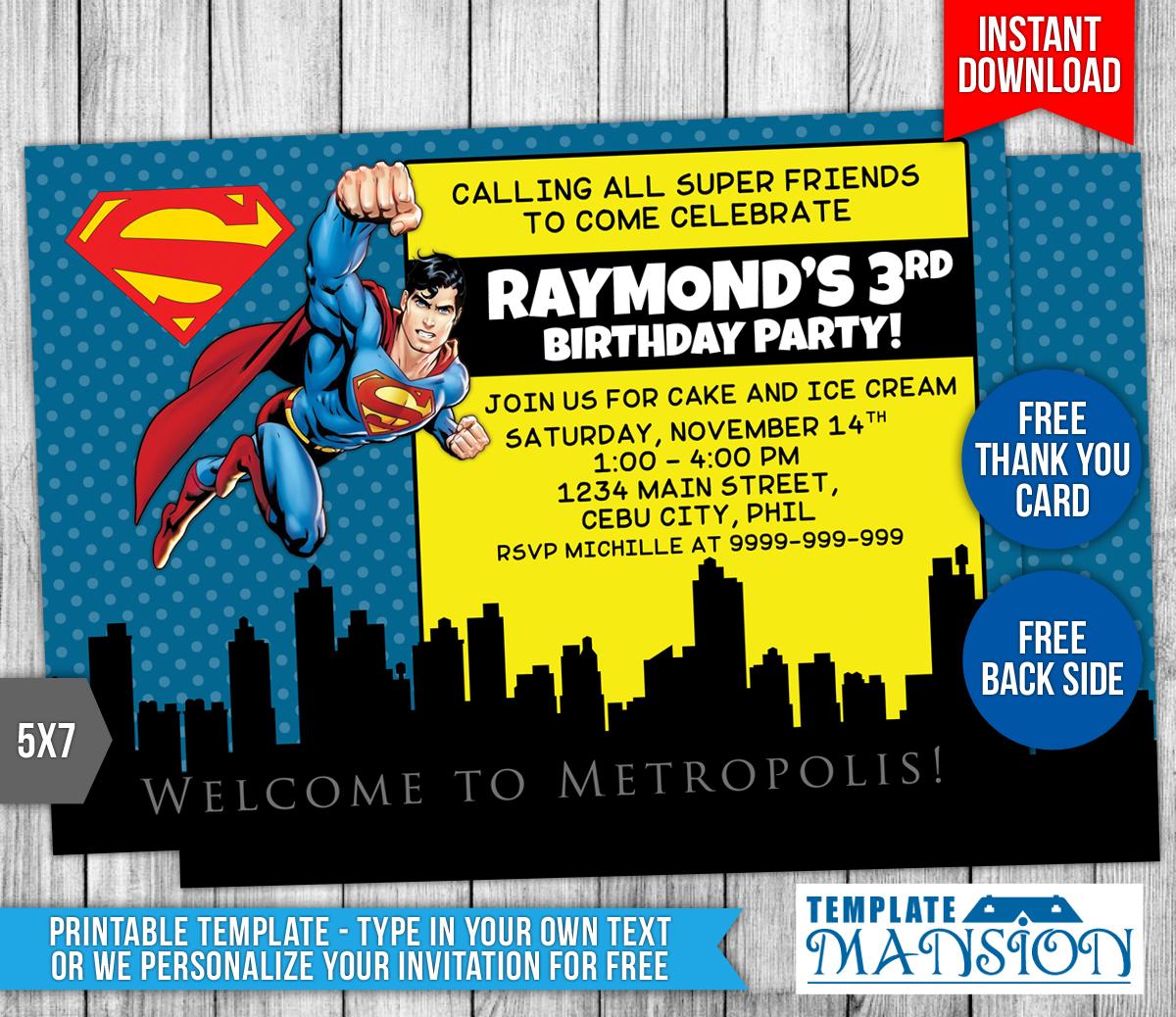 Superman Birthday Invitation Template by templatemansion on DeviantArt Pertaining To Superman Birthday Card Template