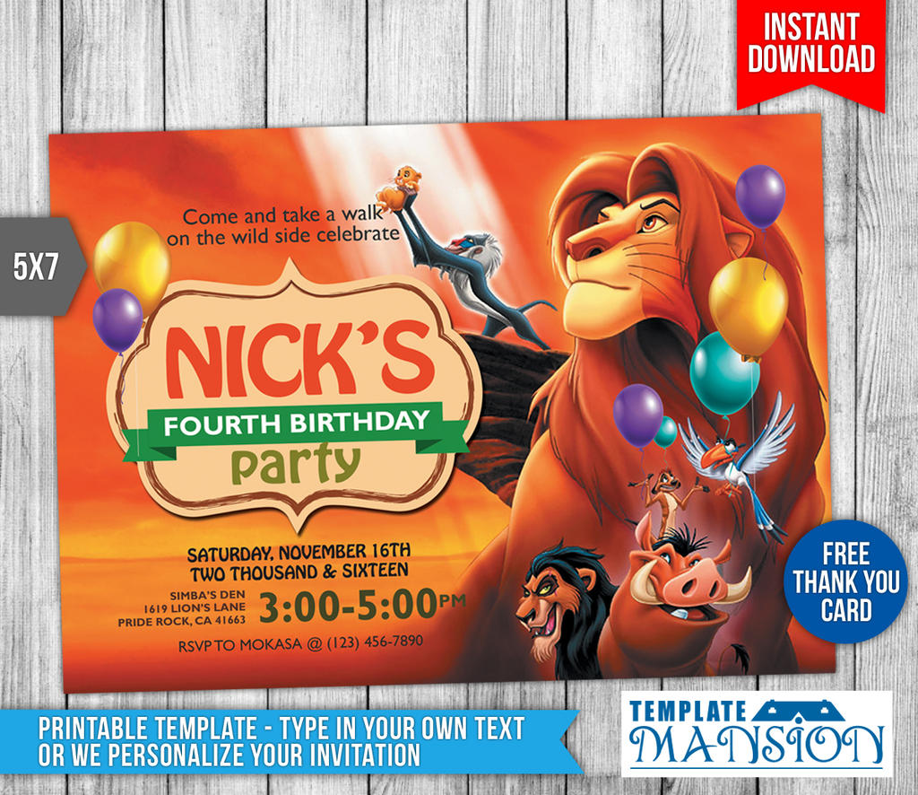 Lion King Birthday Invitation With Thank You Card By - Lion king birthday invitation template free