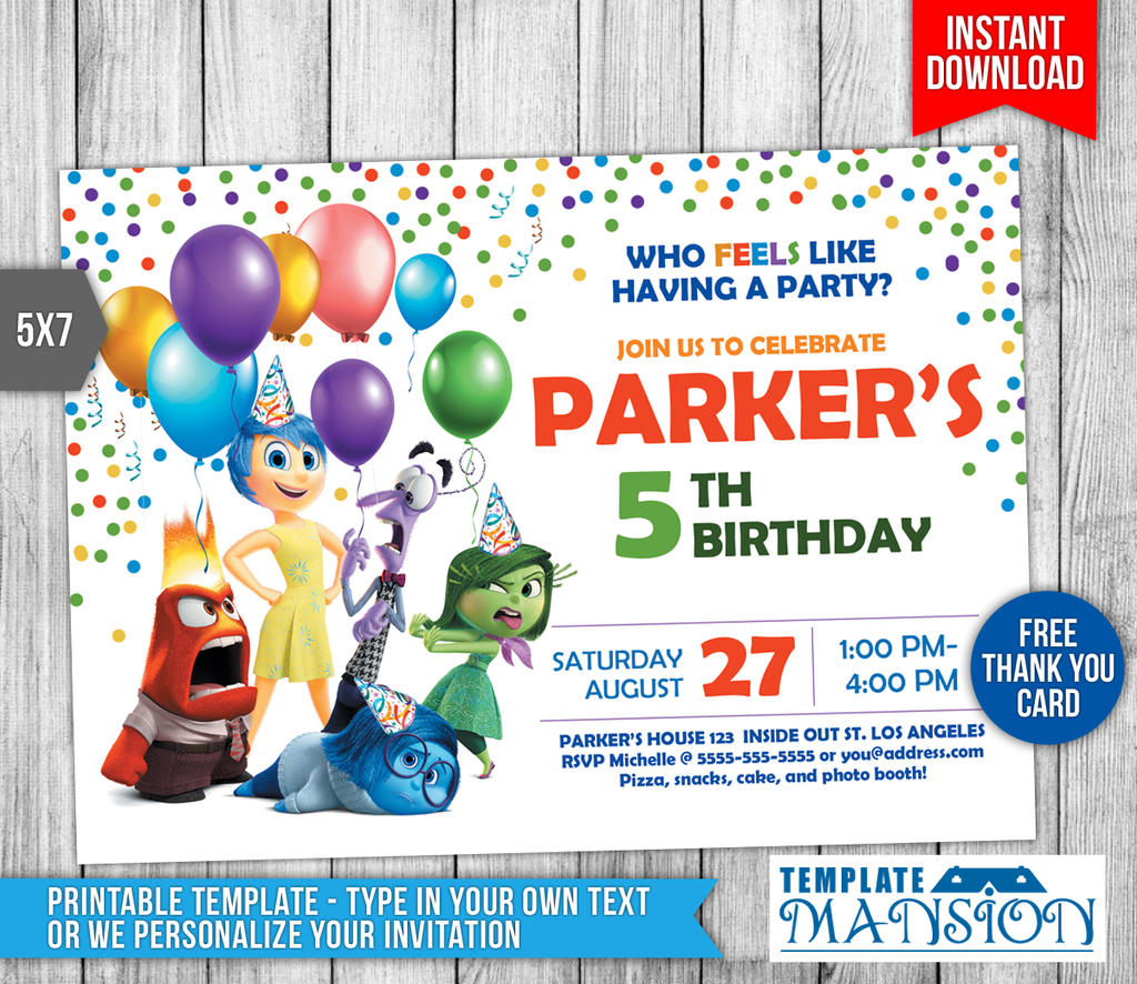 Inside Out Birthday Invitation Printable By Templatemansion On - Birthday invitations inside out