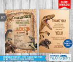 Dinosaur Jurrasic Birthday Invitation Printable