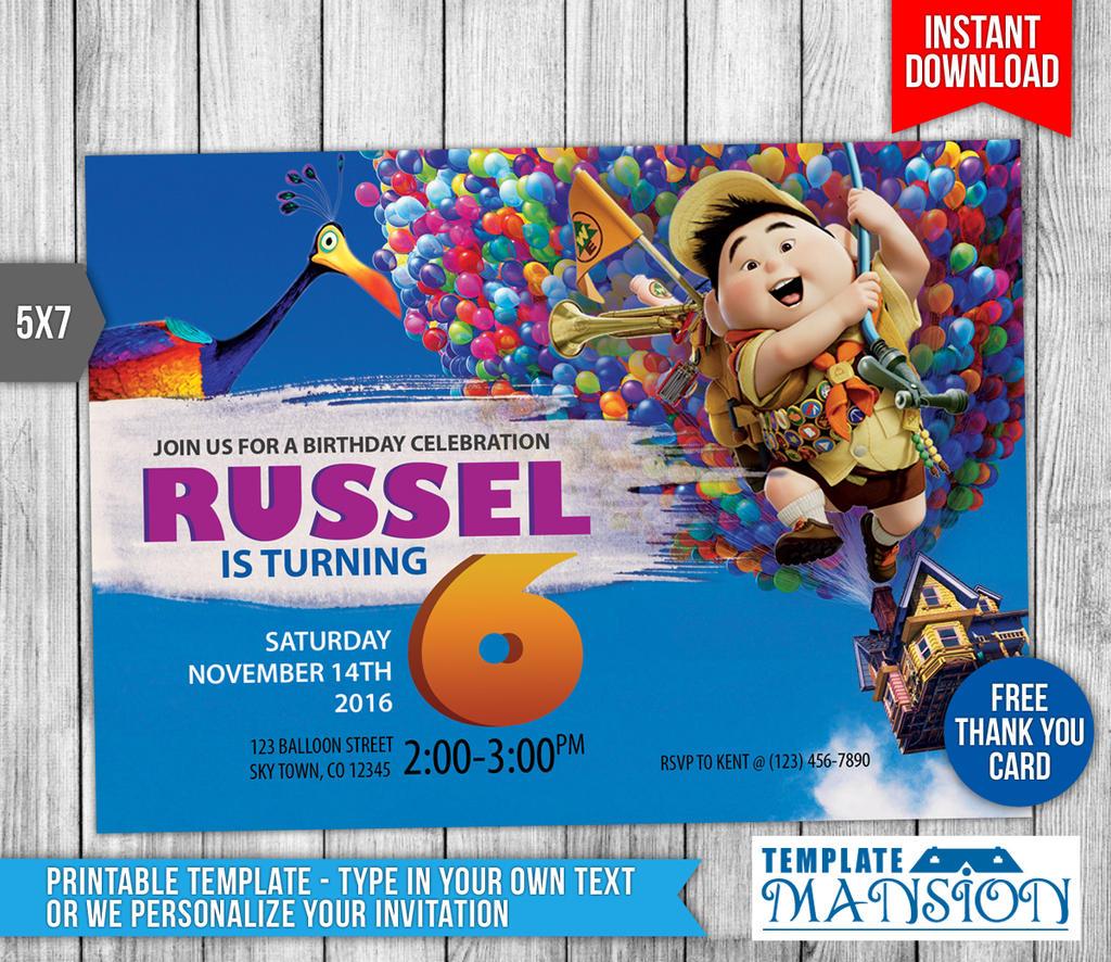DIY Up Movie Birthday Invitation Card Printable by templatemansion ...