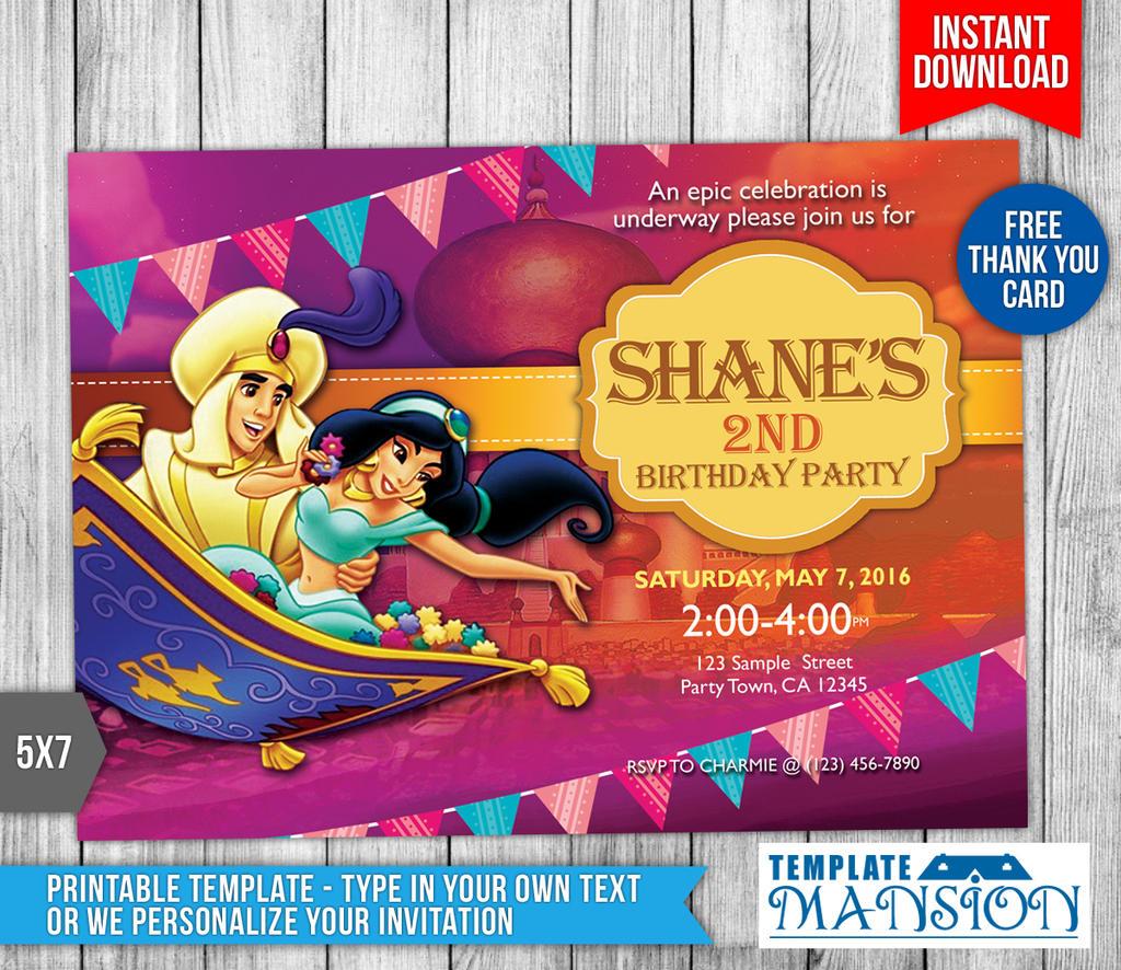 Diy Princess Jasmine Invitation Card Printable By