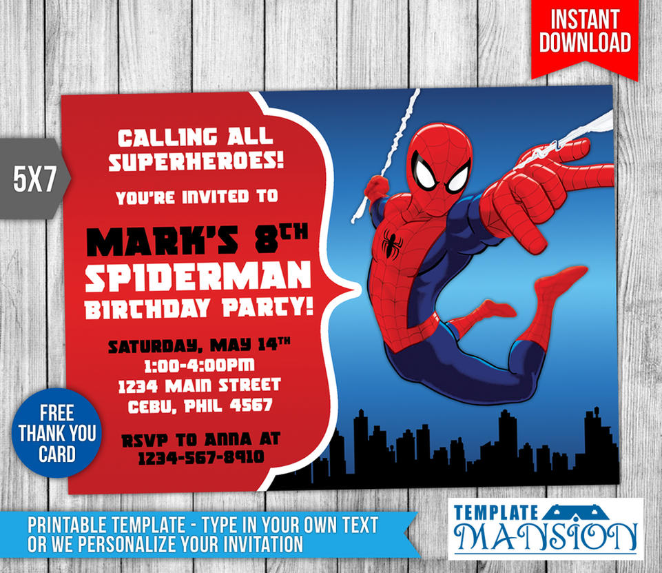 Spiderman invitation birthday invitation psd by templatemansion on spiderman invitation birthday invitation psd by templatemansion stopboris