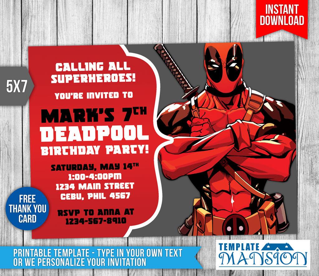 Deadpool Invitation, Deadpool Birthday Invitation by templatemansion ...