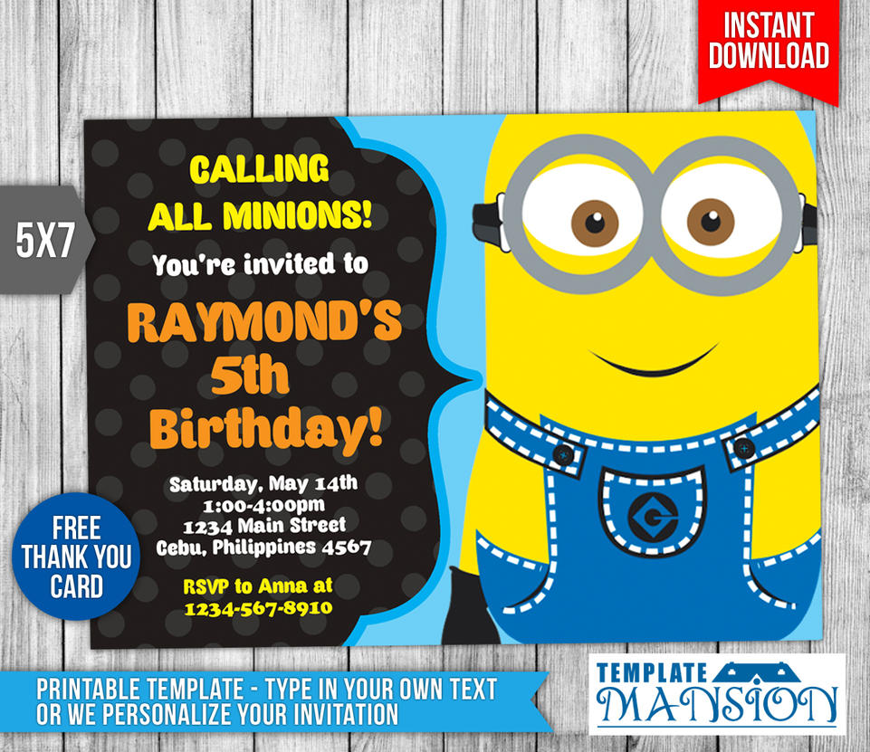 Minion Invitation, Minion Birthday Invitation By