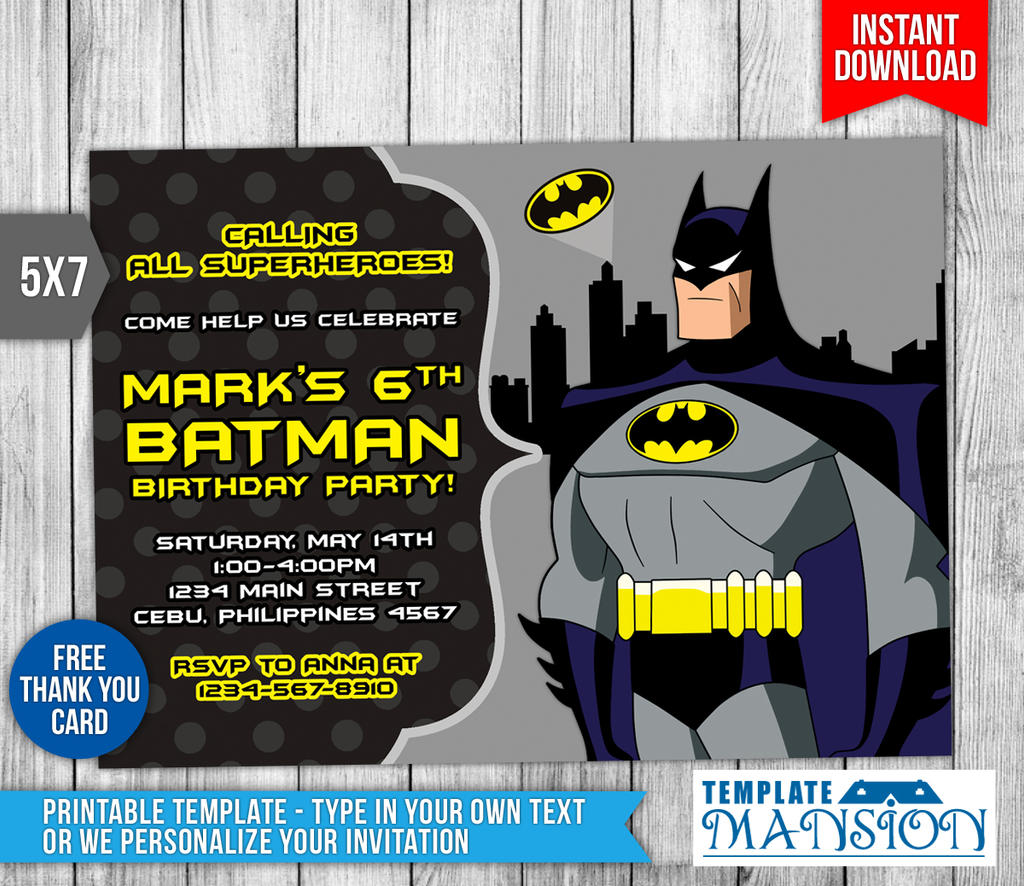 Batman Party Invitations Free Printable with adorable invitations template