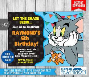 Minkki2fly 1 0 Tom And Jerry Invitation Birthday PSD By Templatemansion
