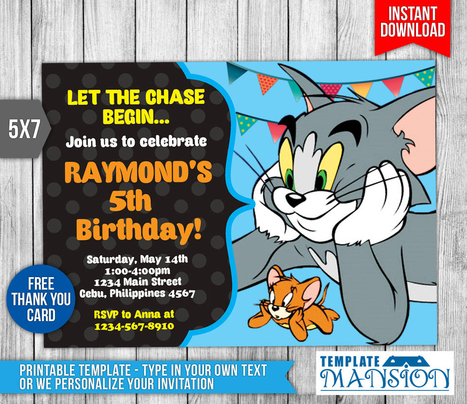 Tom And Jerry Invitation Birthday PSD By Templatemansion