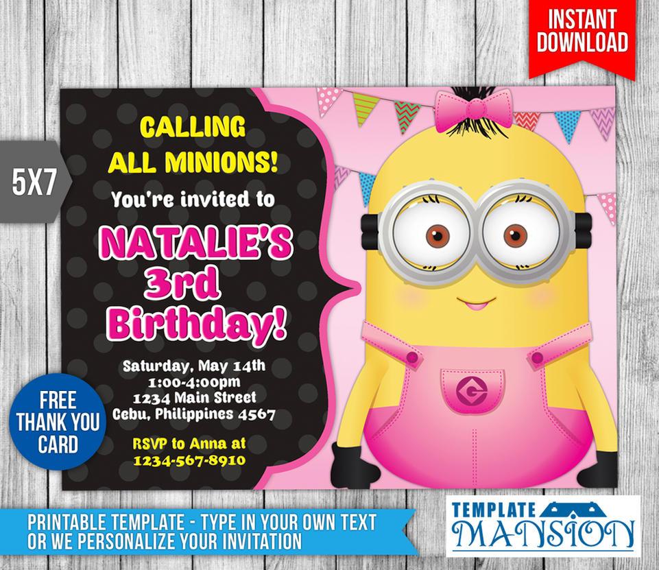 Girl Minion Invitation, Birthday Invitation, PSD by templatemansion ...