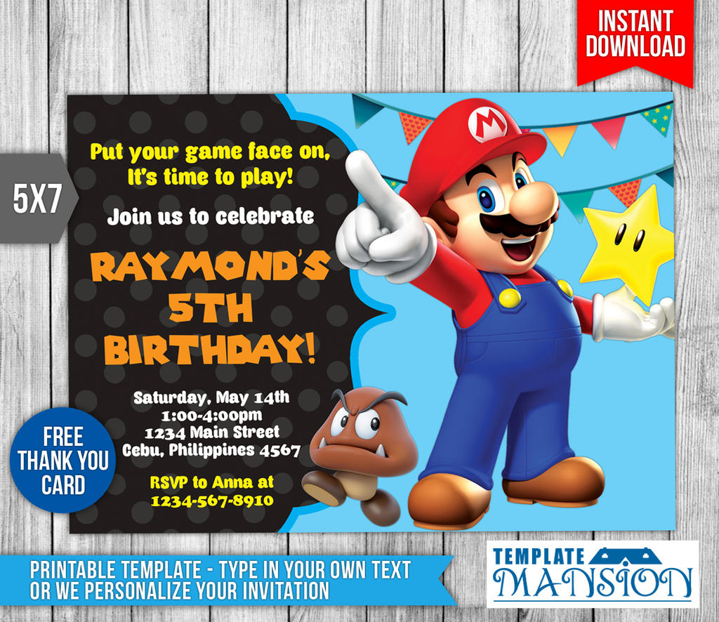 Super Mario Invitation, Birthday Invitation, PSD By