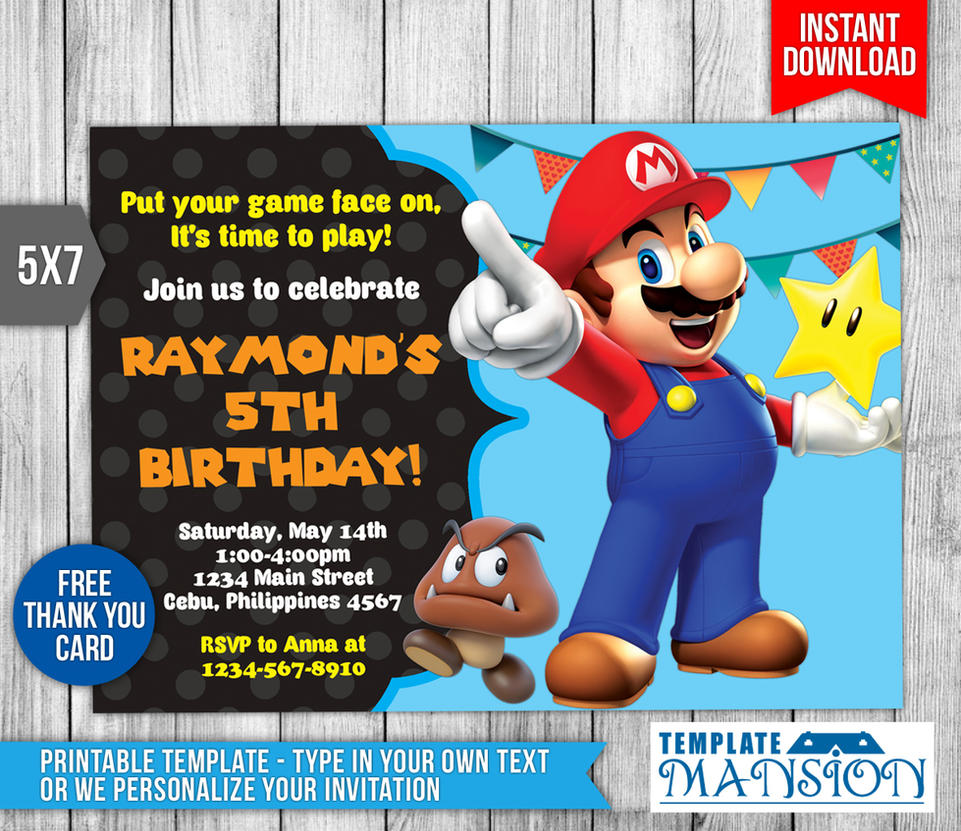Super mario invitation birthday invitation psd by templatemansion stopboris Choice Image