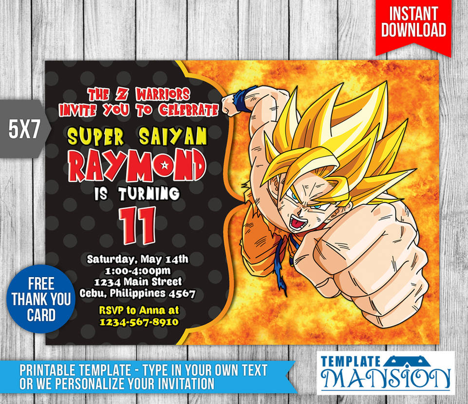 Dragon Ball Z Invitation Birthday PSD By Templatemansion