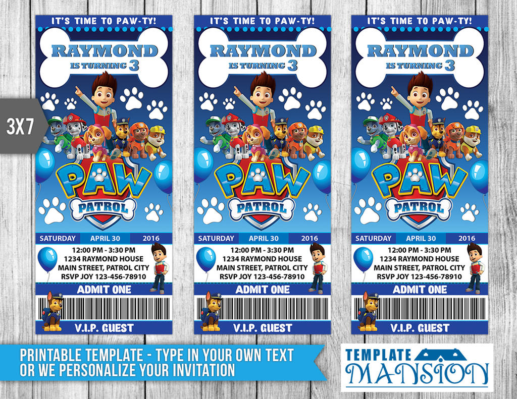 Paw Patrol Ticket Invitation Invitation PSD By Templatemansion On - Paw patrol invitation template