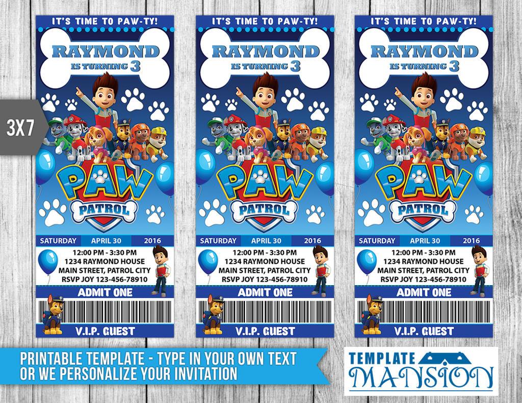 Paw Patrol Ticket Invitation Invitation Psd By