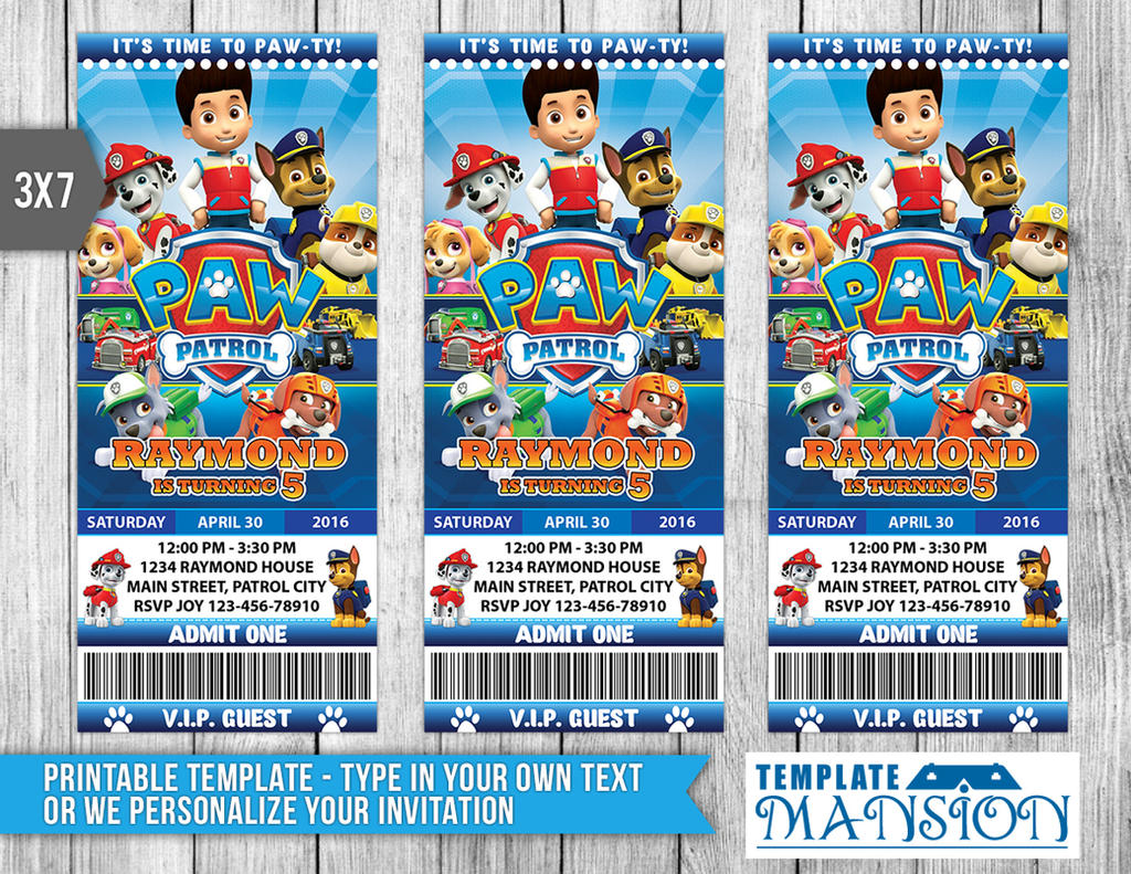 Paw patrol ticket invitation invitation psd by for Paw patrol invitation template free