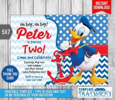 Donald Duck Invitation, Birthday Invitation, PSD by templatemansion