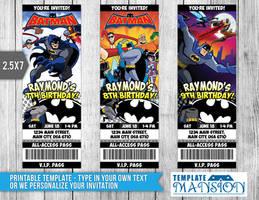 Batman Ticket Invitation, Batman Invitation, PSD by templatemansion