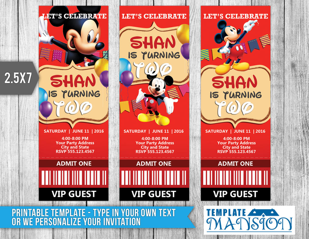 Mickey Mouse Ticket Invitation Template PSD DIY by