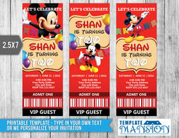Mickey Mouse Ticket Invitation Template, PSD, DIY by templatemansion