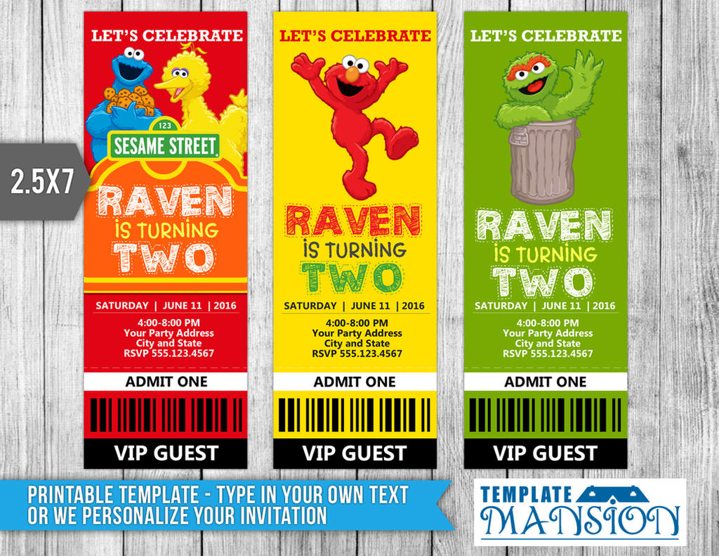 Sesame Street Ticket Invitation Template PSD DIY by