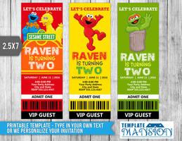 Sesame Street Ticket Invitation Template, PSD, DIY by templatemansion