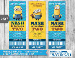 Minion Ticket Invitation Template, Card, PSD, DIY by templatemansion