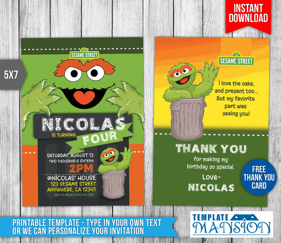 Oscar The Grouch Invitation Sesame Street PSD By Templatemansion